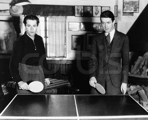 Henry Fonda and James Stewart Playing Ping Pong