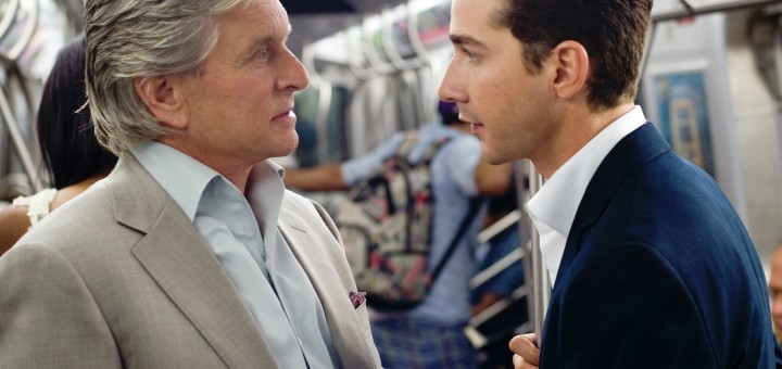 """ORG XMIT: NYET848 In this film publicity image released by 20th Century Fox, Michael Douglas portrays Gordon Gekko, left, and Shia LaBeouf portrays Jake Moore in a scene from, """"Wall Street: Money Never Sleeps."""" (AP Photo/20th Century Fox, Barry Wetcher)"""